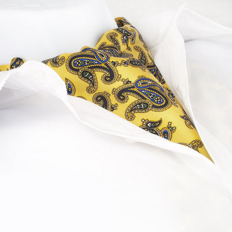 Gold Large Paisley Twill Silk Self Tie Cravat