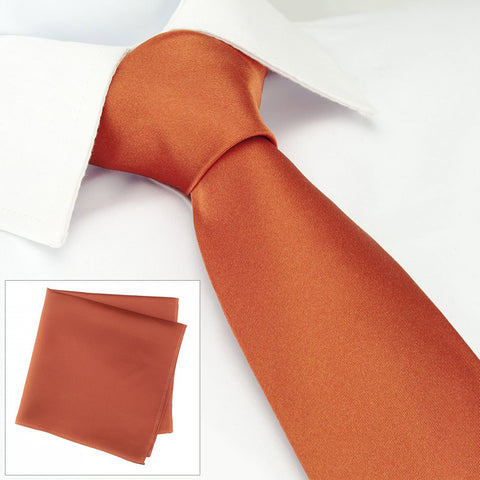 Plain Burnt Orange Silk Tie & Handkerchief Set