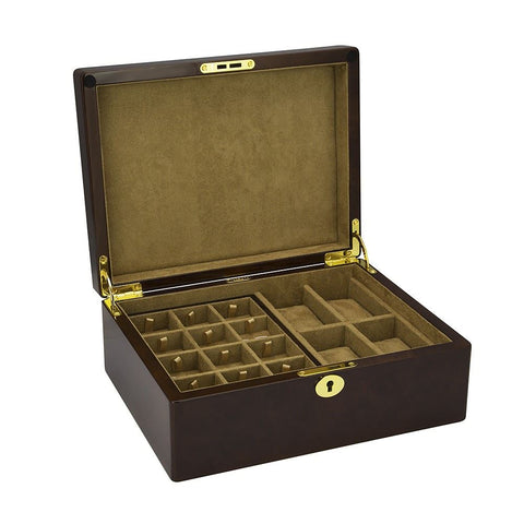 Camphor Burl 4 Watch and 24 Cufflink Gents Valet Box