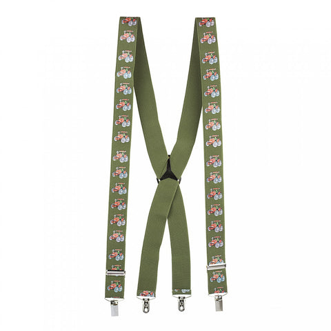 Country Green with Red Tractor Braces