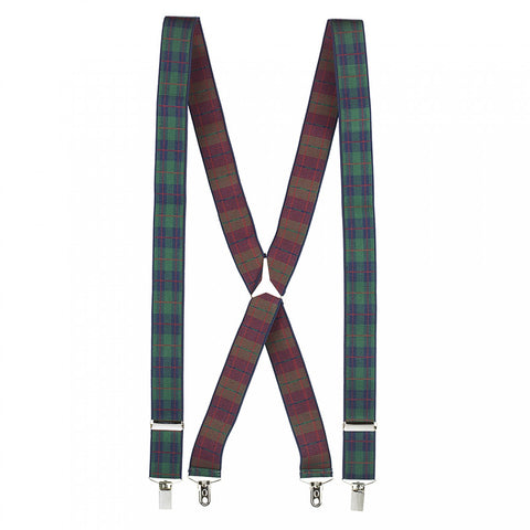 Luxury Green Tartan Braces