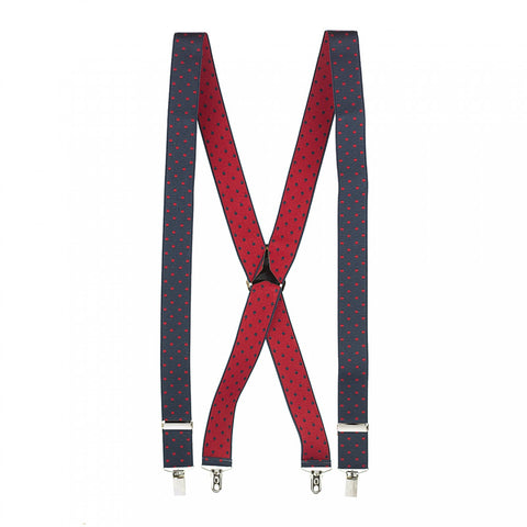 Navy & Red Polka Dot Braces