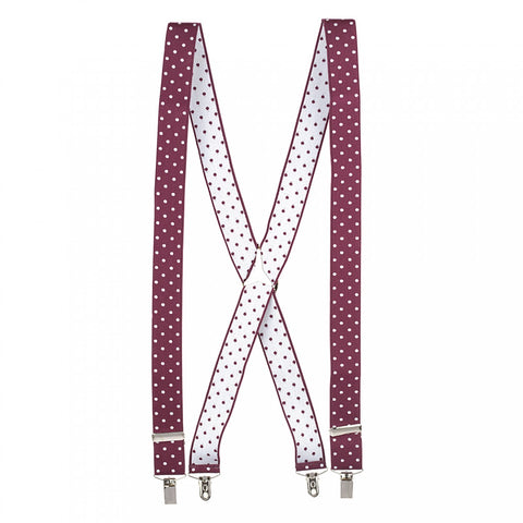 Wine Polka Dot Braces