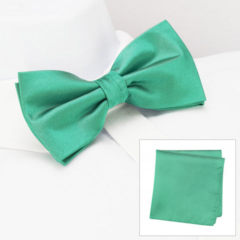 Plain Turquoise Silk Bow Tie & Handkerchief Set