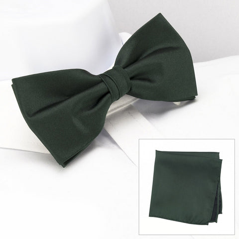 Plain Dark Green Silk Bow Tie & Handkerchief Set