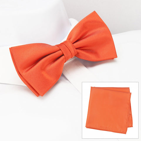 Plain Orange Silk Bow Tie & Handkerchief Set