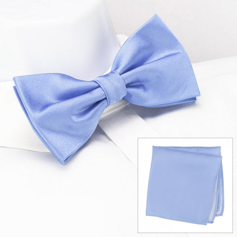 Plain Light Blue Silk Bow Tie & Handkerchief Set