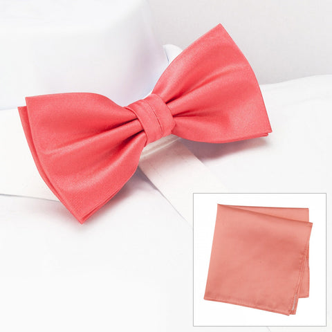 Plain Coral Silk Bow Tie & Handkerchief Set