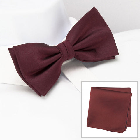 Plain Claret Silk Bow Tie & Handkerchief Set