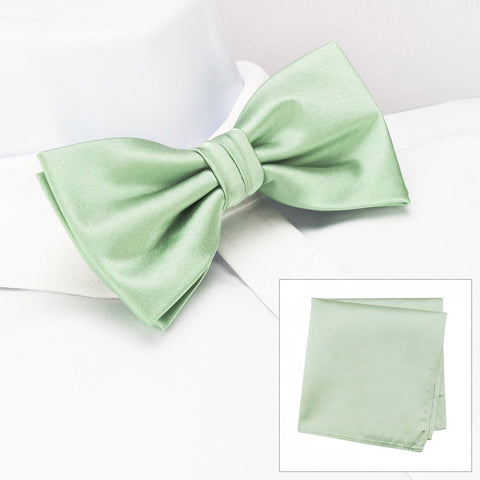 Plain Mint Silk Bow Tie & Handkerchief Set