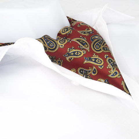 Red Large Paisley Twill Silk Self Tie Cravat