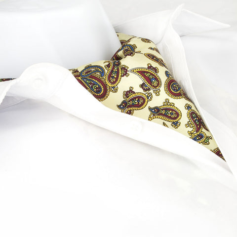 Pastel Yellow Large Paisley Twill Silk Self Tie Cravat