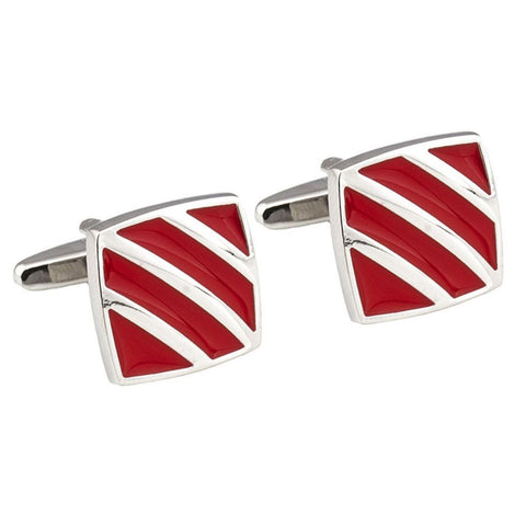 Silver Striped Red Enamel Cufflinks