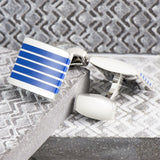 Blue & Silver Striped Cufflinks
