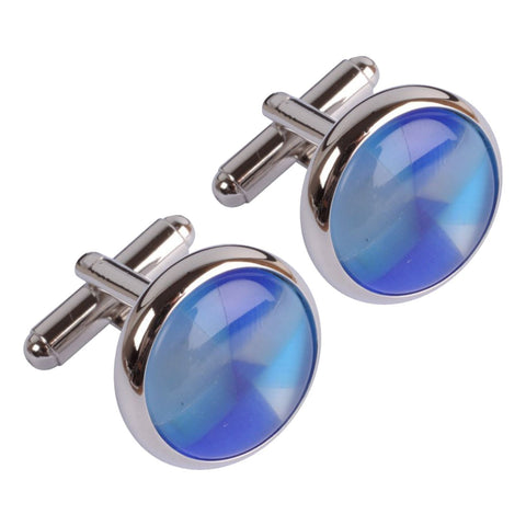 Blue, Turquoise & White Circles  Cufflinks