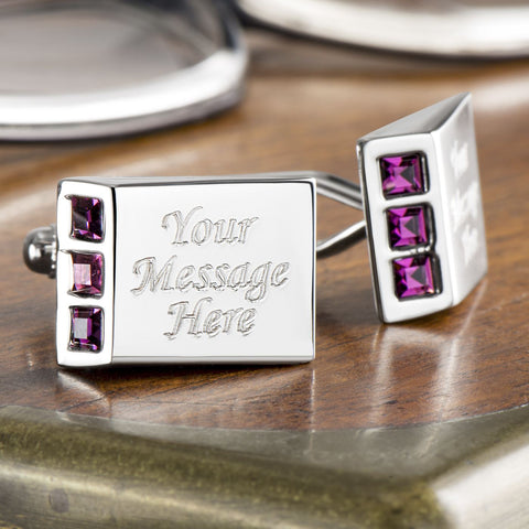 Purple Crystal Wedge Cufflinks (Engraved)