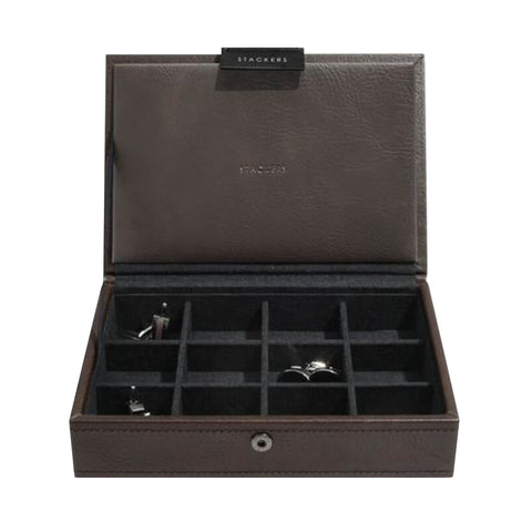 Stackers Brown Lidded Mini Cufflink Box