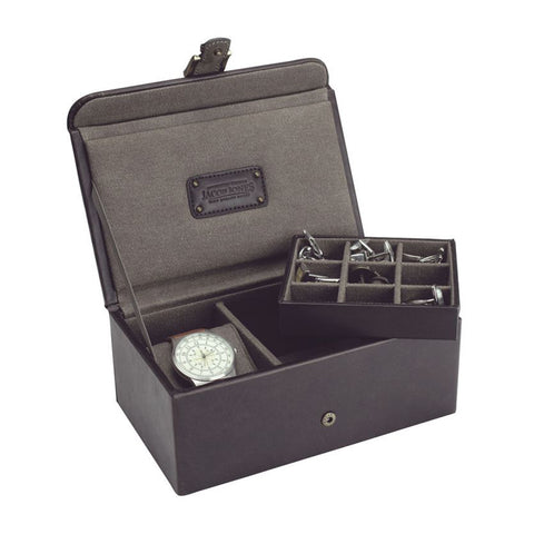 Jacob Jones Brown & Khaki Watch & Cufflink Box
