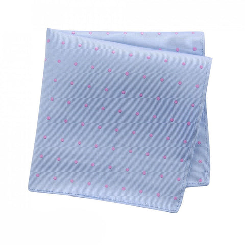 Blue & Pink Polka Dot Woven Silk Handkerchief