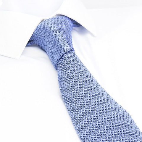 Pastel Blue Knitted Square Cut Silk Tie