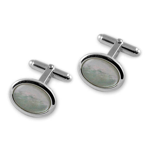 Sterling Silver Mother of Pearl Oval Cufflinks