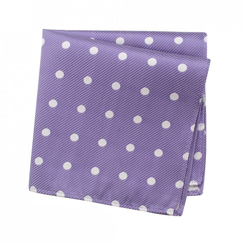 Lilac Silk Handkerchief With White Polka Dots