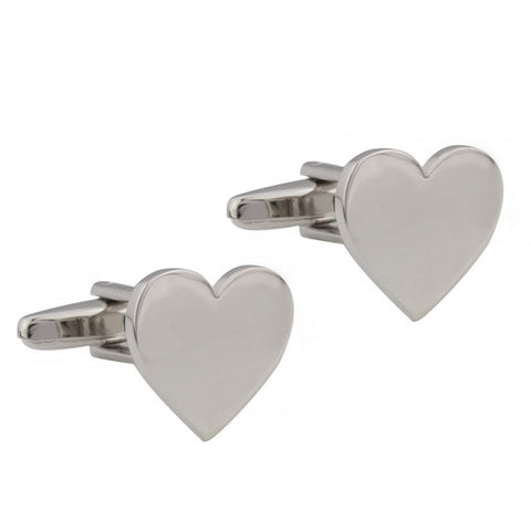 Silver Love Heart Cufflinks