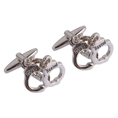 """You're Busted"" Police Handcuff Cufflinks"
