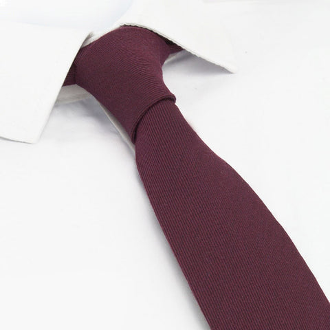 Plain Wine Wool Mix Slim Tie