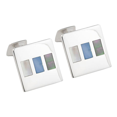 Sterling Silver Abalone and Mother of Pearl Shell Cufflinks