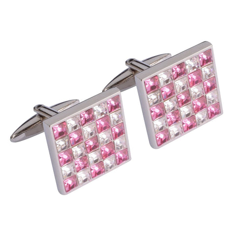 Pink and White Multi Crystal Squares Cufflinks