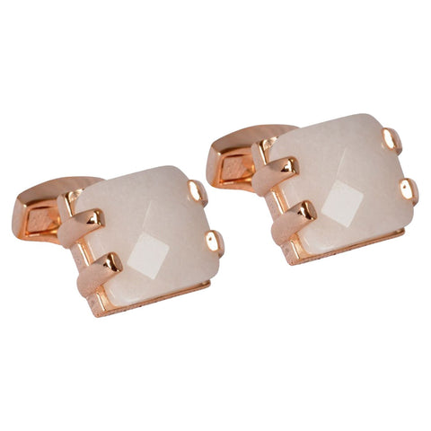 Rose Gold Faceted Mother of Pearl Cufflinks