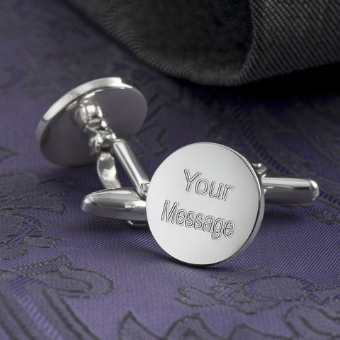 Engraved Cufflinks, Sterling Silver Circle