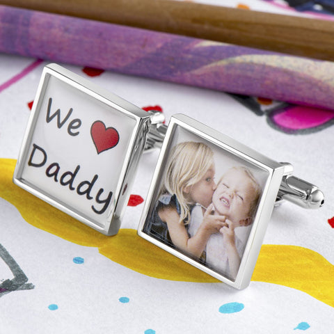 We Heart Daddy Personalised Photo Cufflinks