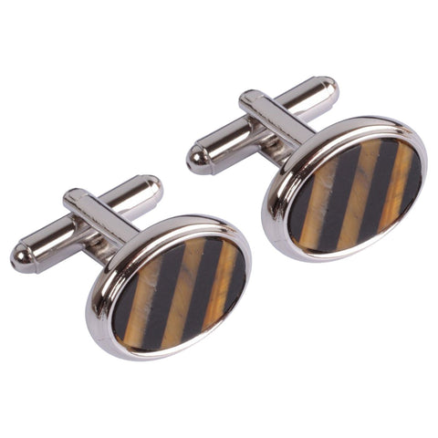 Black & Brown Striped Circle Cufflinks