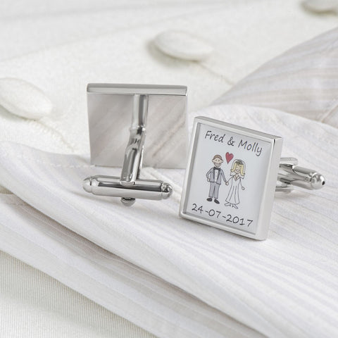 Personalised Wedding Bride & Groom Names & Date Cufflinks
