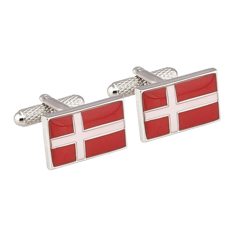 Danish Flag Rectangle Cufflinks
