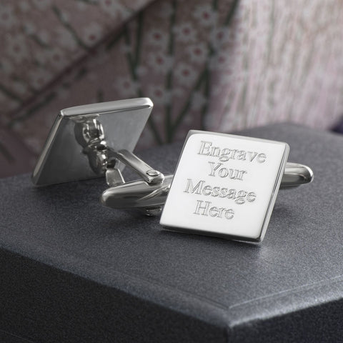 Engraved Cufflinks, Sterling Silver Square