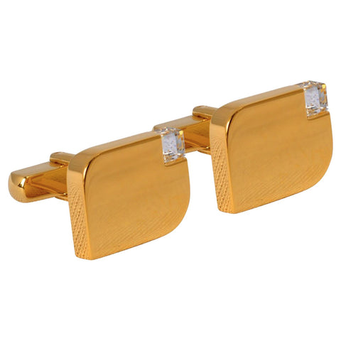Acid Gold Cufflinks with White Crystal Stones