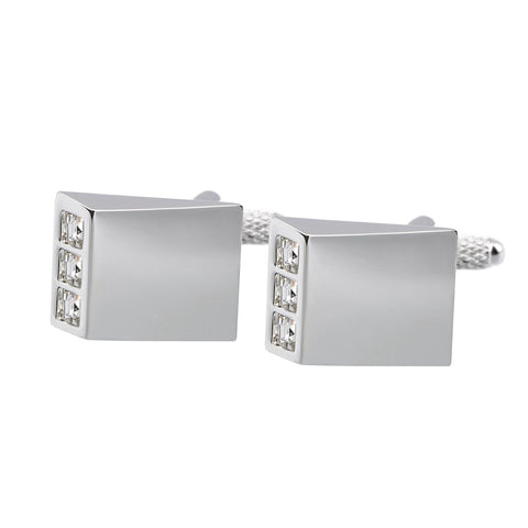 White Crystal Wedges Cufflinks