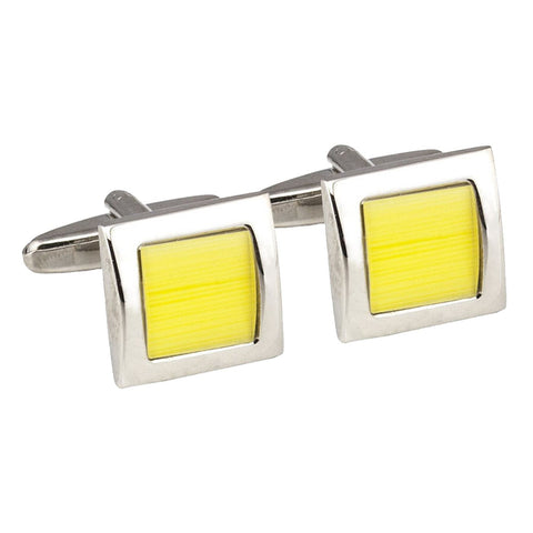 Yellow Centred Square Cufflink