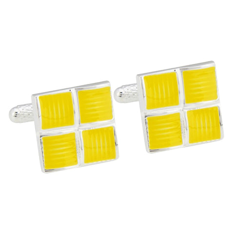 Four Squared Yellow Cufflinks