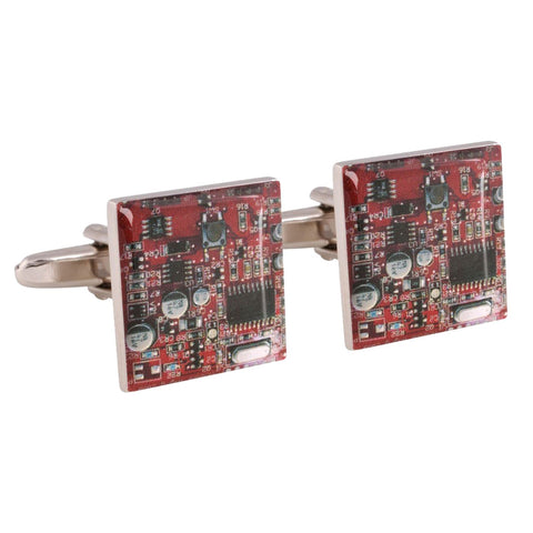 Red Circuit Board Cufflinks