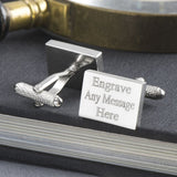 Engraved Cufflinks, Silver Plated Rectangle