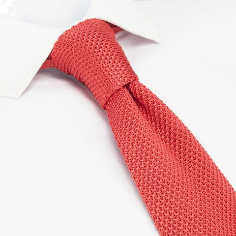 Coral Knitted Square Cut Silk Tie