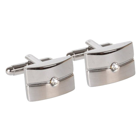 Silver Cufflinks with Centred Crystal