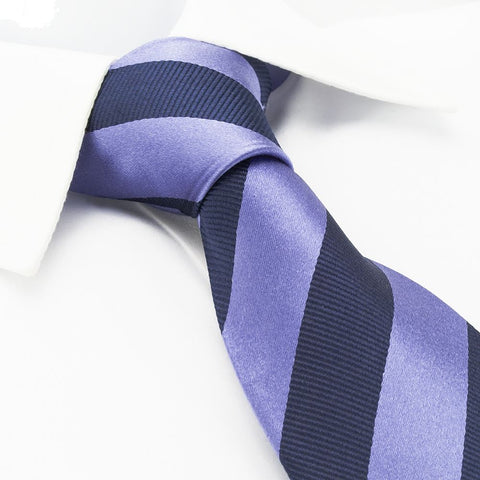 Lilac & Navy Woven Striped Silk Tie