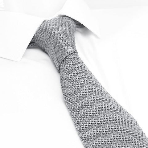Light Grey Knitted Square Cut Silk Tie