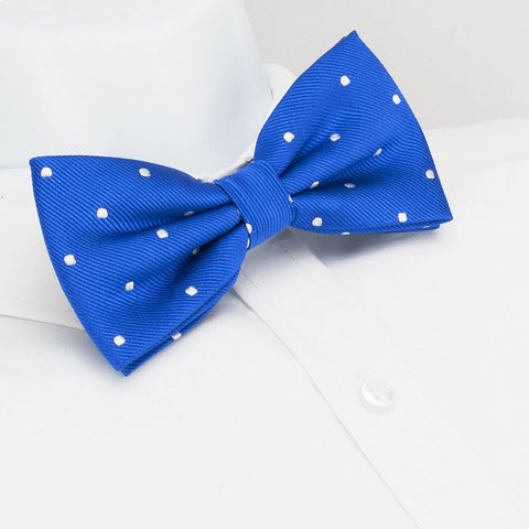 Pre-Tied Royal Blue Polka Dot Silk Bow Tie