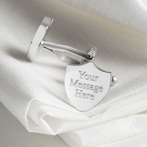 Silver Plated Shield Engraved Cufflinks